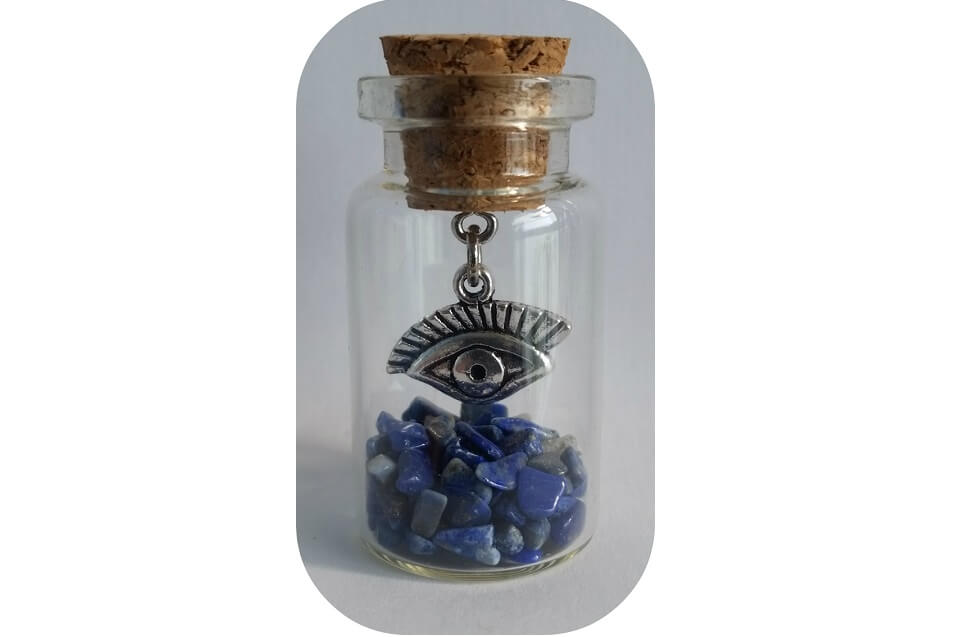 Oog met Lapis Lazuli, geluksflesje, geurhout.nl