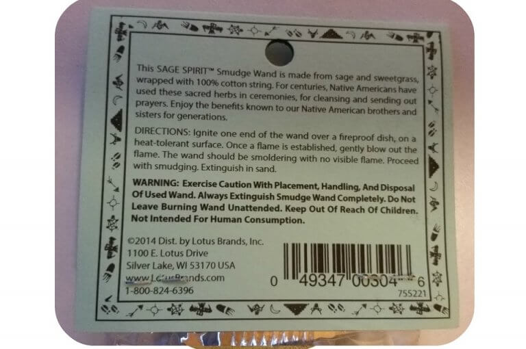 Smudge stick salie sweetgrass, Sage Spirit, label ~ geurhout.nl